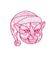 cat wearing santa hat mandala vector image
