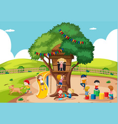 children playing at tree house vector image