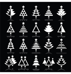 Christmas tree white icons set isolated on black vector