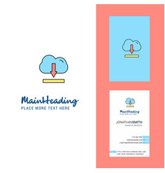 cloud downloading creative logo and business card vector image