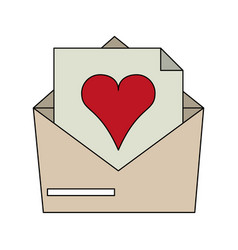 Color image envelope mail with heart vector