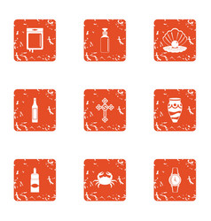 communion icons set grunge style vector image