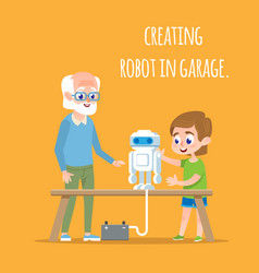 Creating robot in garage with family tech sciense vector