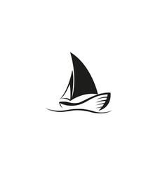 Creative black yacht boat logo design symbol vector