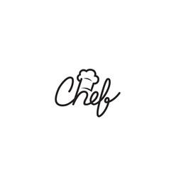 Creative chef typography hat text logo symbol vector