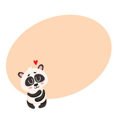 cute and funny baby panda character hugging itself vector image