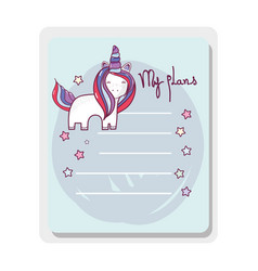 cute card unicorn with mane long vector image
