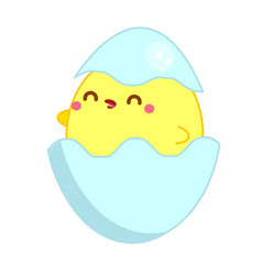 Cute chicken in kawaii style little baby chick in vector