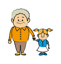 cute grandpa with granddaughter funny together vector image