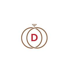 d letter ring diamond logo vector image