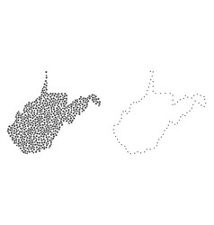 Dotted contour map of west virginia state vector