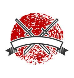 emblem with crossed katana swords design element vector image