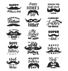 father day greeting card with lettering moustache vector image
