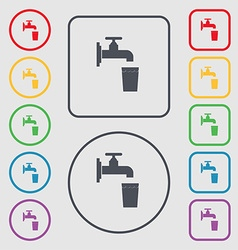 faucet glass water icon sign symbol on the Round vector image