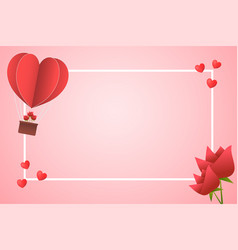 Frame paper style love of valentine day heart vector