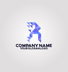 geometry polygon triangle logo letter r 02 vector image