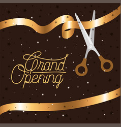 Grand opening message with scissors cutting golden vector