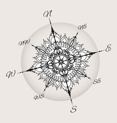 Graphic wind rose compass drawn with floral vector