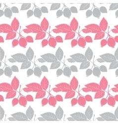 Gray Pink Rosehip Berries Stripes Seamless vector