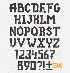 Hand drawing set grunge letters alphabet vector
