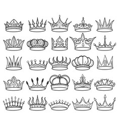 hand drawn doodle crown set vector image