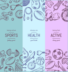 Hand drawn sports equipment vertical banner vector