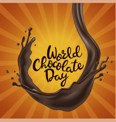 happy chocolate day background with melted vector image