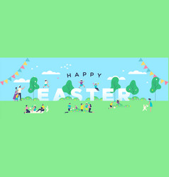 happy easter banner people in spring park vector image