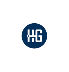 Hg letter with circle design vector