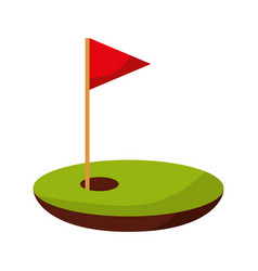 hole golf with flag vector image