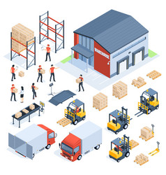 isometric warehouse logistic cargo transport vector image