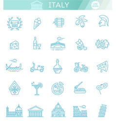 italy icons set tourism and attractions thin vector image