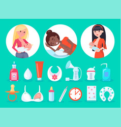 Items and breastfeeding moms vector