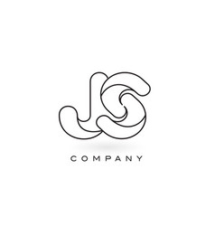 js monogram letter logo with thin black monogram vector image