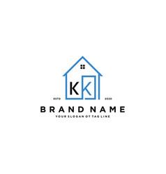 Letter kk home logo design concept vector