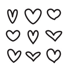 Line hearts icons shapes valentine love set vector