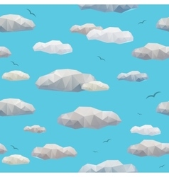 Low poly clouds seamless pattern vector image