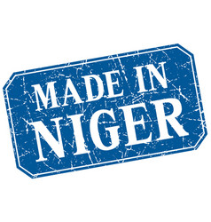 Made in niger blue square grunge stamp vector