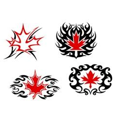 Maple leaf mascots and symbols vector