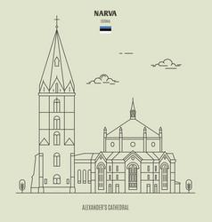 narva alexanders cathedral estonia vector image