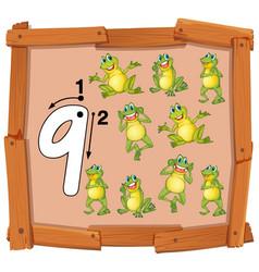 Nine frog on wooden banner vector