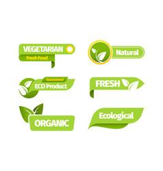 organic vegetarian banner set natural organic vector image