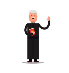 Pastor character standing with bible isolated on vector