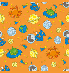 Planetman seamless pattern color vector