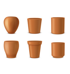 pots for flowers houseplants different shaped vector image