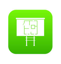 Project of house on a board icon digital green vector
