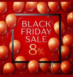 red balloons with black friday sale eight vector image