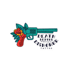 Retro revolver rose flower and words death before vector