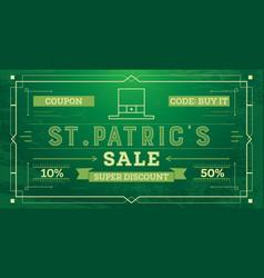 saint patricks day sale vintage retro background vector image