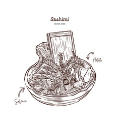 Salmon and hotate sashimi serve in big bowl vector